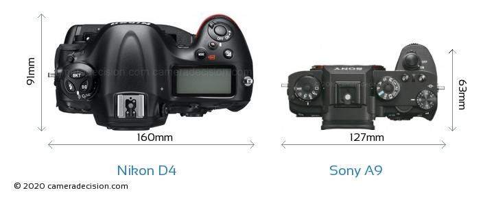 Nikon D4 vs Sony A9 Camera Size Comparison - Top View
