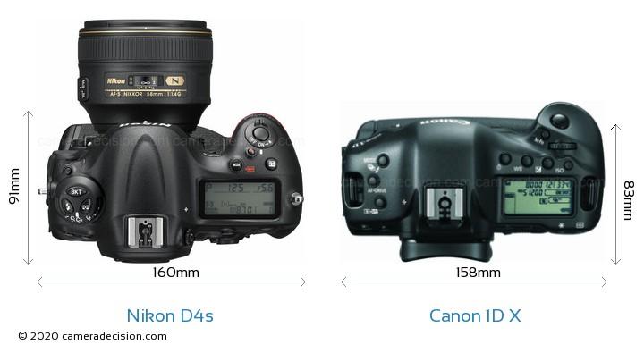 Nikon D4s vs Canon 1D X Camera Size Comparison - Top View