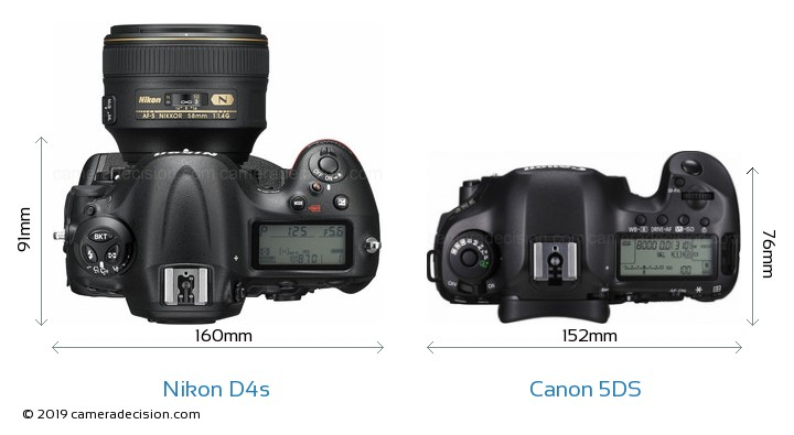Nikon D4s vs Canon 5DS Camera Size Comparison - Top View