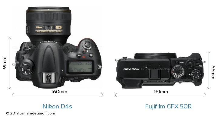 Nikon D4s vs Fujifilm GFX 50R Camera Size Comparison - Top View