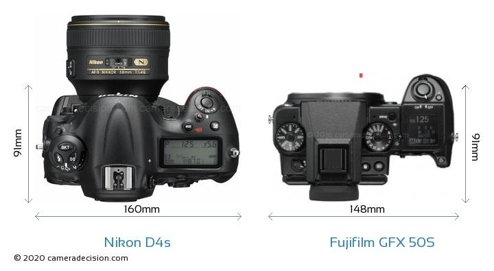 Nikon D4s vs Fujifilm GFX 50S Camera Size Comparison - Top View