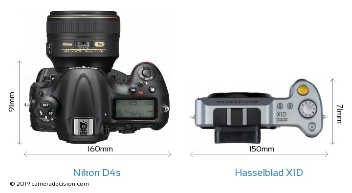 Nikon D4s vs Hasselblad X1D Camera Size Comparison - Top View