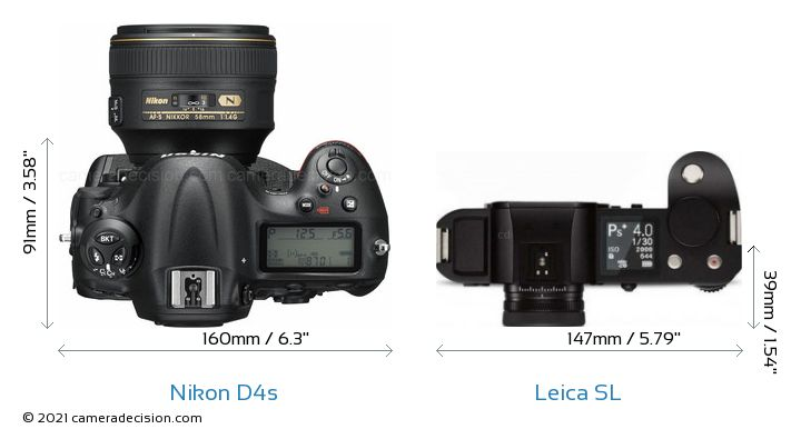 Nikon D4s vs Leica SL Camera Size Comparison - Top View