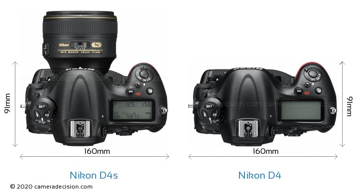Nikon D4s vs Nikon D4 Camera Size Comparison - Top View