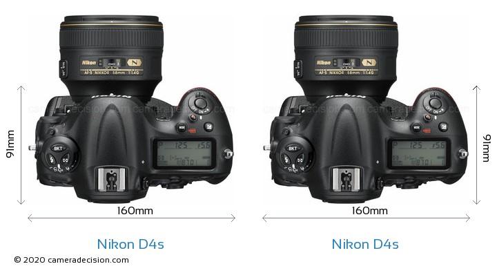 Nikon D4s vs Nikon D4s Camera Size Comparison - Top View