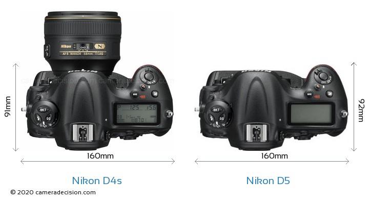 Nikon D4s vs Nikon D5 Camera Size Comparison - Top View