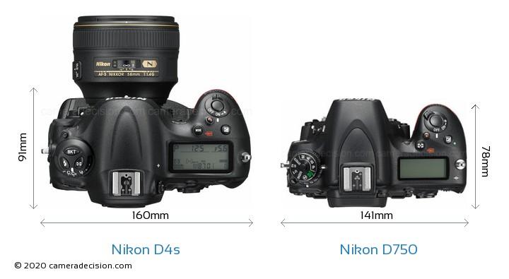 Nikon D4s vs Nikon D750 Camera Size Comparison - Top View