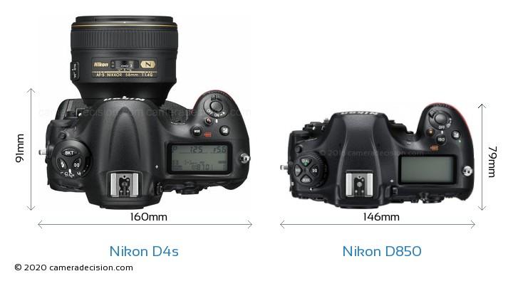 Nikon D4s vs Nikon D850 Camera Size Comparison - Top View