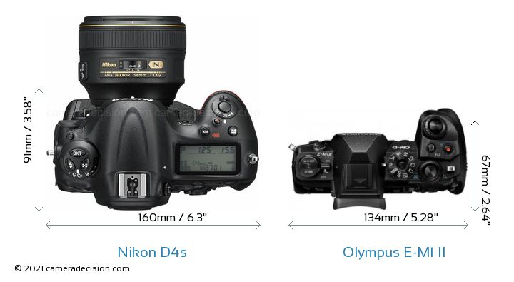 Nikon D4s vs Olympus E-M1 II Camera Size Comparison - Top View