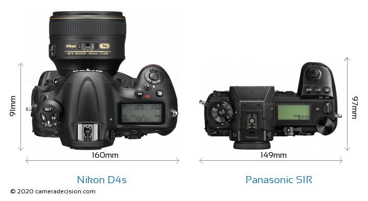 Nikon D4s vs Panasonic S1R Camera Size Comparison - Top View