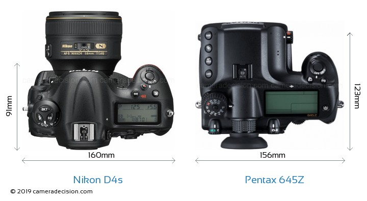 Nikon D4s vs Pentax 645Z Camera Size Comparison - Top View