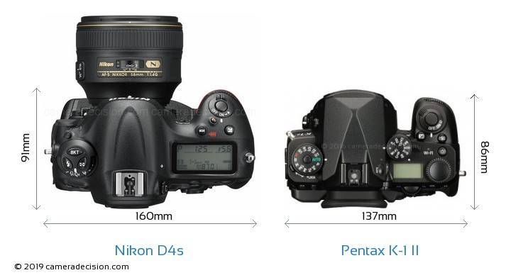 Nikon D4s vs Pentax K-1 II Camera Size Comparison - Top View