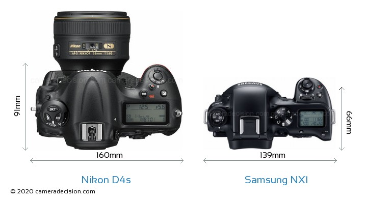 Nikon D4s vs Samsung NX1 Camera Size Comparison - Top View