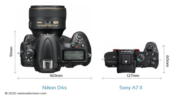 Nikon D4s vs Sony A7 II Camera Size Comparison - Top View