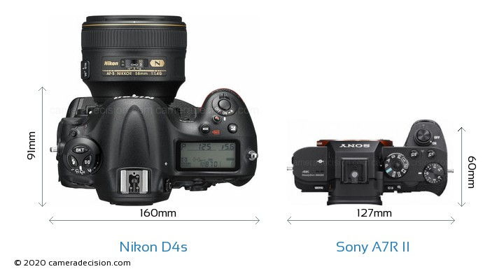 Nikon D4s vs Sony A7R II Camera Size Comparison - Top View