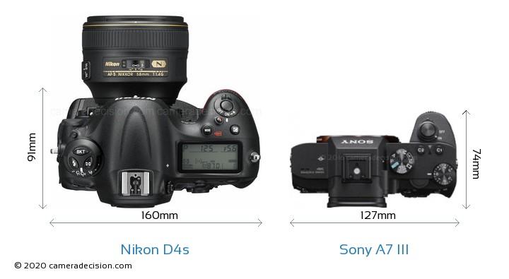 Nikon D4s vs Sony A7 III Camera Size Comparison - Top View