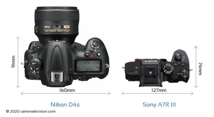 Nikon D4s vs Sony A7R III Camera Size Comparison - Top View