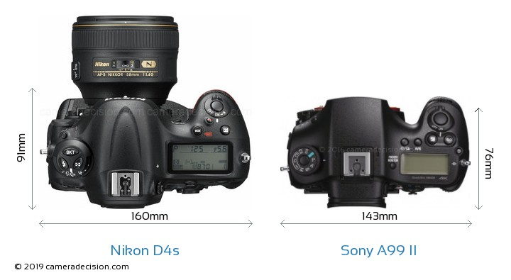 Nikon D4s vs Sony A99 II Camera Size Comparison - Top View