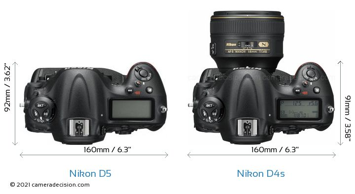 Nikon D5 vs Nikon D4s Camera Size Comparison - Top View