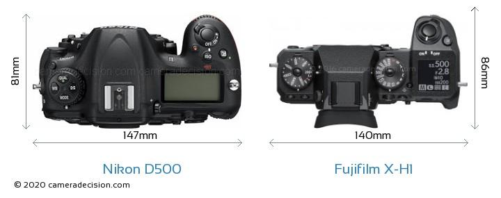 Nikon D500 vs Fujifilm X-H1 Camera Size Comparison - Top View