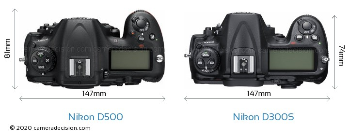 Nikon D500 vs Nikon D300S Camera Size Comparison - Top View