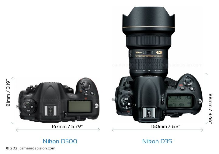 Nikon D500 vs Nikon D3S Camera Size Comparison - Top View