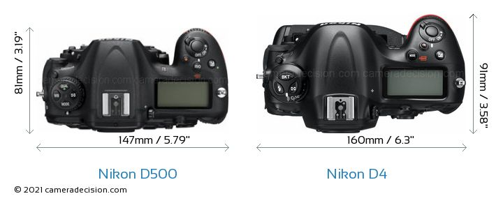 Nikon D500 vs Nikon D4 Camera Size Comparison - Top View