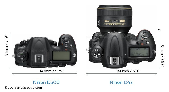 Nikon D500 vs Nikon D4s Camera Size Comparison - Top View