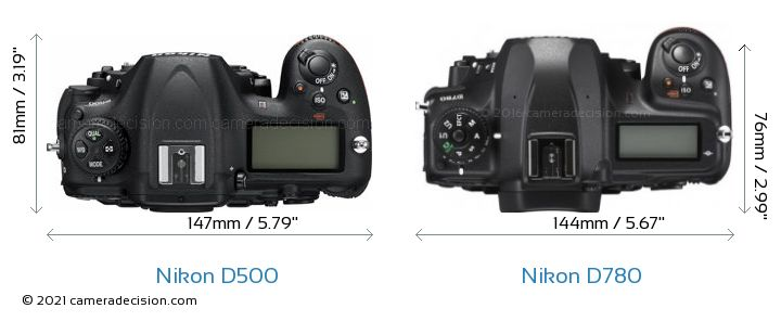 Nikon D500 vs Nikon D780 Camera Size Comparison - Top View