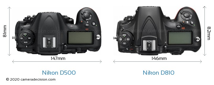 Nikon D500 vs Nikon D810 Camera Size Comparison - Top View