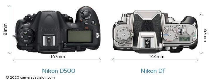 Nikon D500 vs Nikon Df Camera Size Comparison - Top View