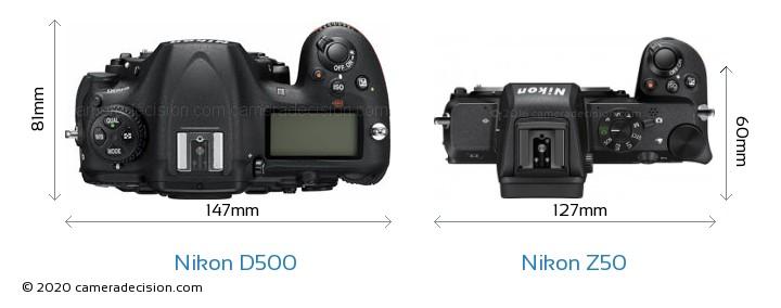 Nikon D500 vs Nikon Z50 Camera Size Comparison - Top View