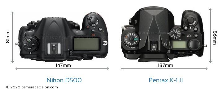 Nikon D500 vs Pentax K-1 II Camera Size Comparison - Top View
