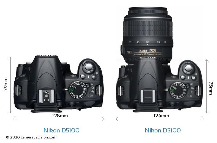 nikon d5100 vs nikon d3100 size comparison