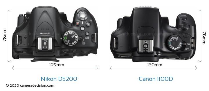 Nikon D5200 vs Canon 1100D Camera Size Comparison - Top View