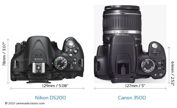 Nikon D5200 vs Canon 350D Camera Size Comparison - Top View