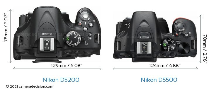 Nikon D5200 vs Nikon D5500 Camera Size Comparison - Top View