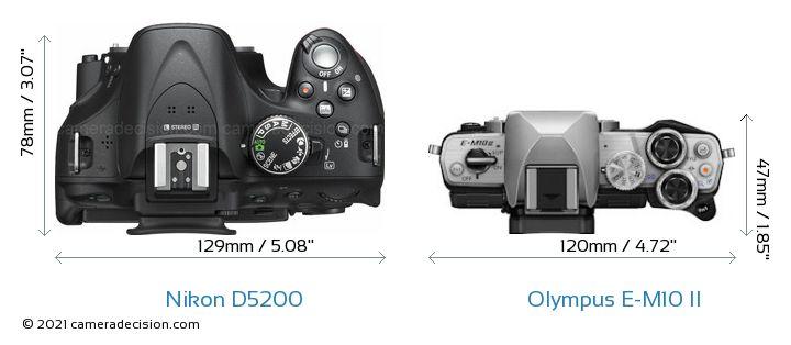 Nikon D5200 vs Olympus E-M10 II Camera Size Comparison - Top View