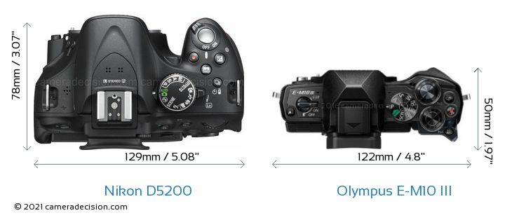 Nikon D5200 vs Olympus E-M10 MIII Camera Size Comparison - Top View