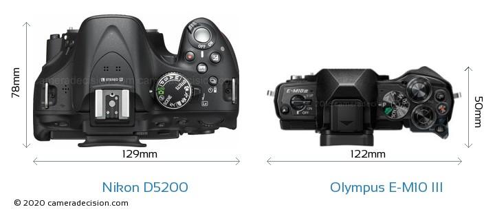 Nikon D5200 vs Olympus E-M10 MIII Camera Size Comparison - Top View