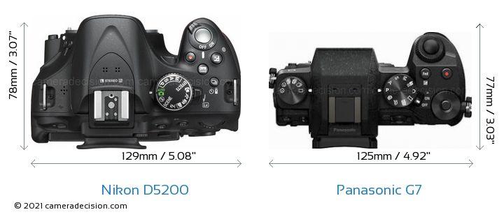 Nikon D5200 vs Panasonic G7 Camera Size Comparison - Top View