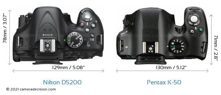 Nikon D5200 vs Pentax K-50 Camera Size Comparison - Top View