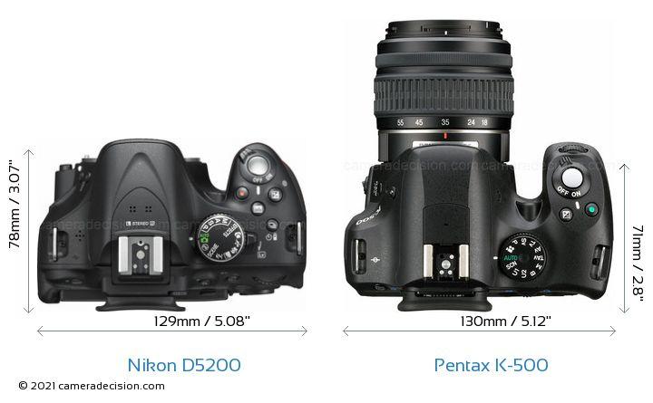 Nikon D5200 vs Pentax K-500 Camera Size Comparison - Top View