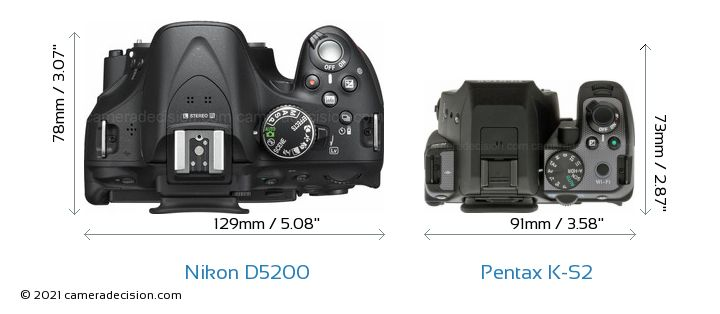 Nikon D5200 vs Pentax K-S2 Camera Size Comparison - Top View