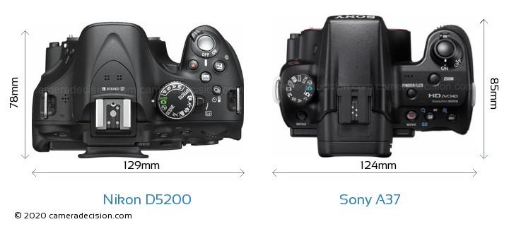 Nikon D5200 vs Sony A37 Camera Size Comparison - Top View