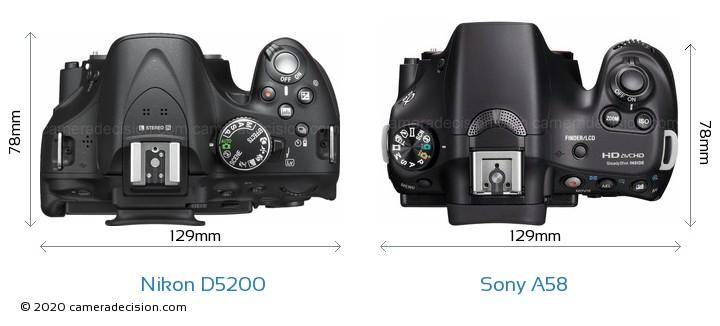 Nikon D5200 vs Sony A58 Camera Size Comparison - Top View