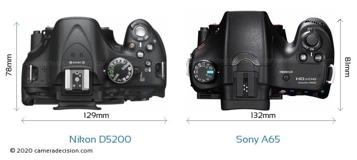 Nikon D5200 vs Sony A65 Camera Size Comparison - Top View