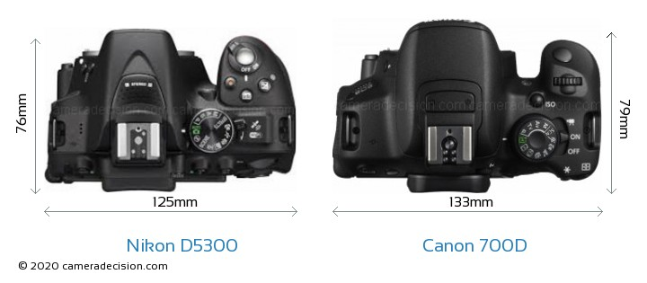 Nikon D5300 vs Canon 700D Camera Size Comparison - Top View