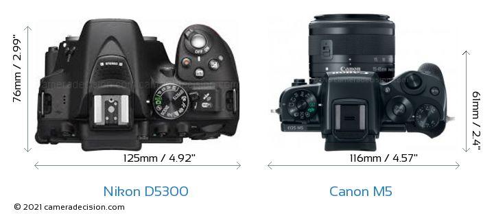 Nikon D5300 vs Canon M5 Camera Size Comparison - Top View