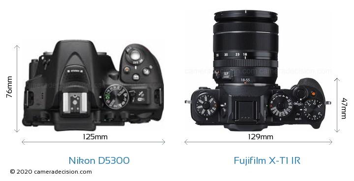Nikon D5300 vs Fujifilm X-T1 IR Camera Size Comparison - Top View